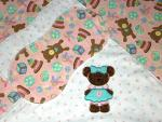 Applique Bear Little Ones Pink Hemstitched Flannel Blanket w/(2) Burp Cloths Kit (FREE BIB W/KIT PURCHASE!)