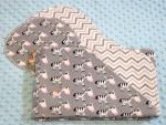 Be Your Own Zebra Hemstitched Flannel Blanket w/(2) Burp Cloths Kit