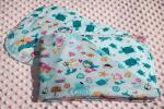 Mermaids And Sea Turtles Hemstitched Flannel Blanket w/(2) Burp Cloths Kit