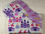 Princesses and Castles Hemstitched Flannel Baby Blanket w/2 Burp Cloths Kit