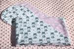 Zebra Hearts Hemstitched Flannel Blanket w/(2) Burp Cloths Kit