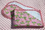 Birdie On Turtle Finished Crochet Edge Flannel Blanket w/(2) Burp Cloths Gift Set