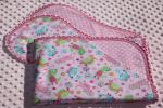 Cute Dinos and Dots Pink Finished Crochet Edge Flannel Blanket w/(2) Burp Cloths Gift Set