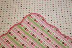 Scalloped Edge Flowers And Dots Hemstitched Flannel Blanket w/(2) Burp Cloths Kit